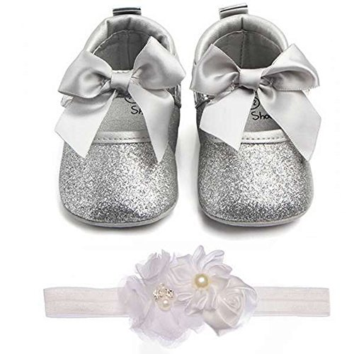 Lidiano Baby Girls Bowknot Sequins Bling Anti-Slip Mary Jane Flat Crib Shoes with Headband (0-6Months, - Silver Flat
