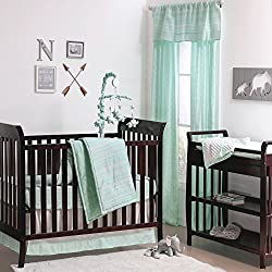 Mint Green Tribal Print Geometric Boy's 4 Piece Crib Bedding Set by The Peanut Shell