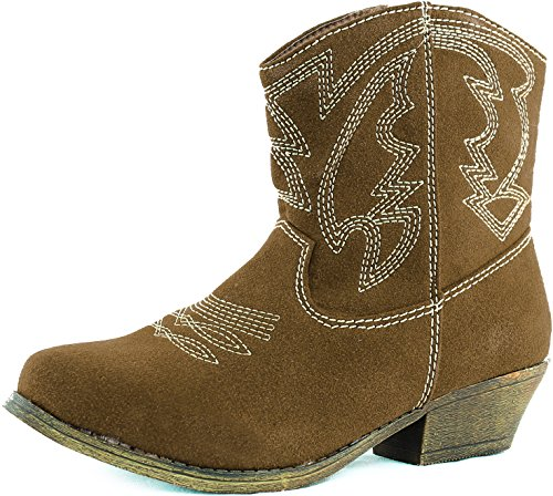 Ankle Camel Cowboy Sv Fashion Shoes Heel Booties Distress Stitched Western Stacked Embroidered Women's R70P60