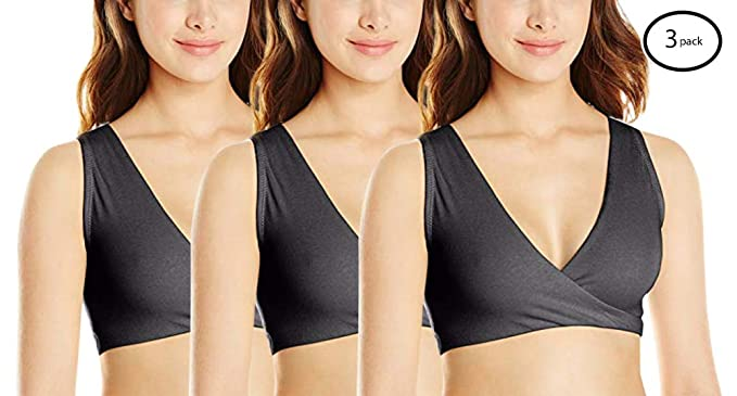d817d7e269616 Lamaze Womens 3 Pack Cotton Spandex Sleep Bra for Nursing and Maternity  Charcoal Heather Small