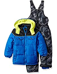 Boys' Colorblock Snowsuit W/Print Bib