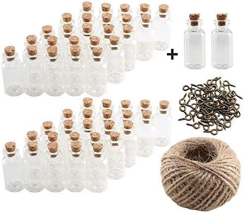 Pulluo 50+2pcs Mini Botellas de Cristal 5 ml Botes de Cristal con Tapón de Corcho Botellas de Vidrio con 30 m Cuerda Tornillos de Ojo Botella de Mensaje Manualidad Decorando Bodas Bautizos
