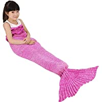 Kids Crochet Mermaid Tail Blanket, OKAYSHOP Knitting...