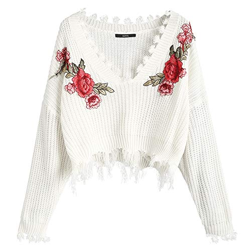ZAFUL Women's Frayed V Neck Floral Embroidered Pullover Sweater Loose Long Sleeve Knitted Crop Top - Embroidered V-neck Pullover