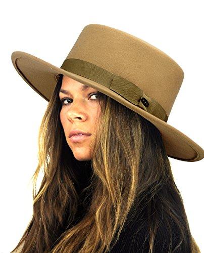 NYFASHION101 Wool Wide Brim Porkpie Fedora Hat w/ Simple Band Accent - - Wool Camel Tan