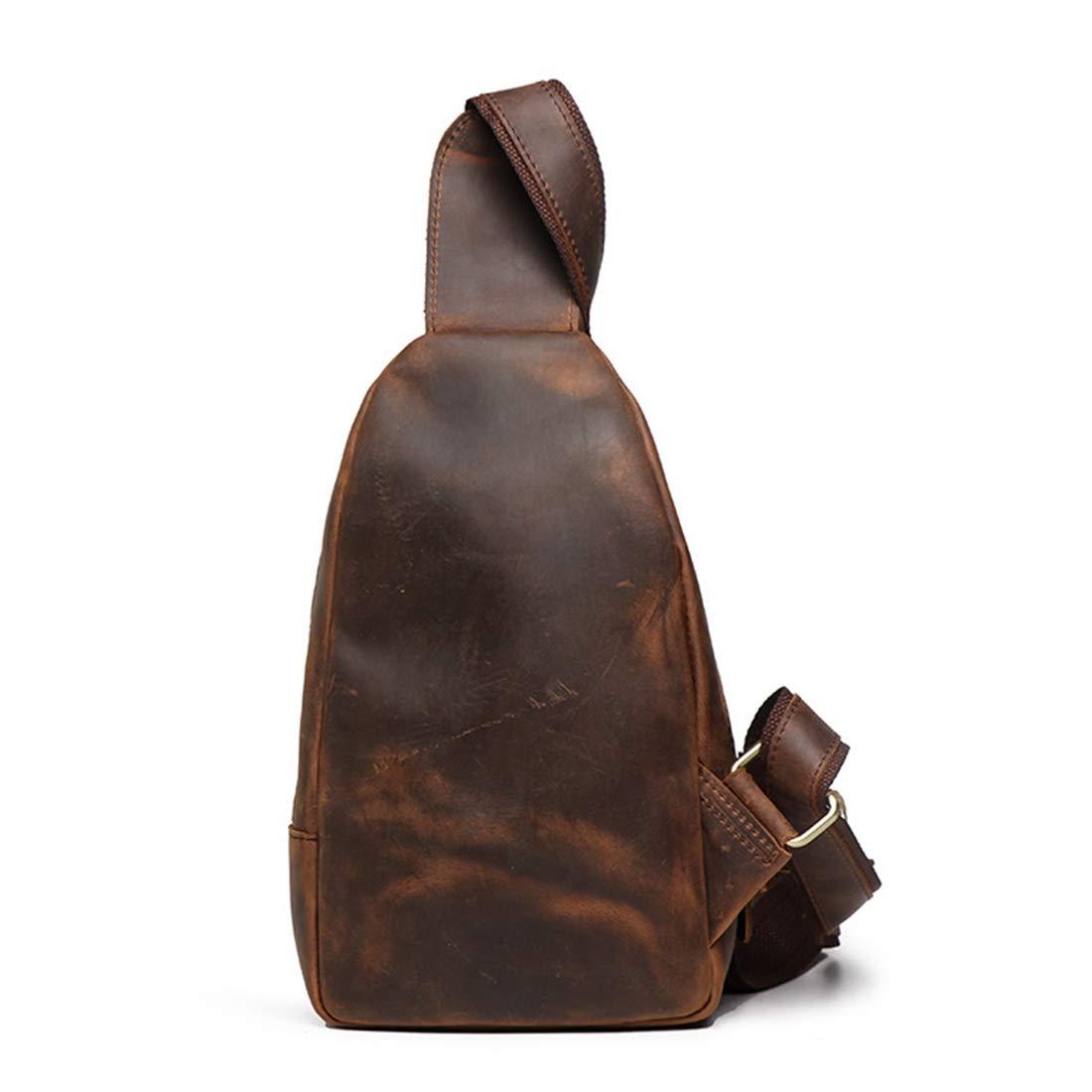 Carriemeow Simple Retro Zippered Canvas Chest Shoulder Bag Messenger Bag Color Brown Color : Black