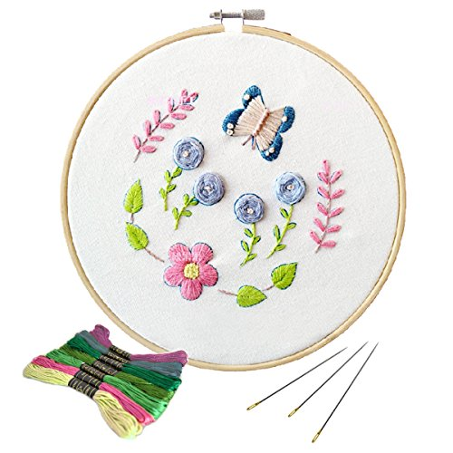 Unime Full Range of Embroidery Starter Kit with Partten, Cross Stitch Kit Including Embroidery Cloth with Color Pattern, Bamboo Embroidery Hoop, Color Threads, and Tools Kit (Butterfly)