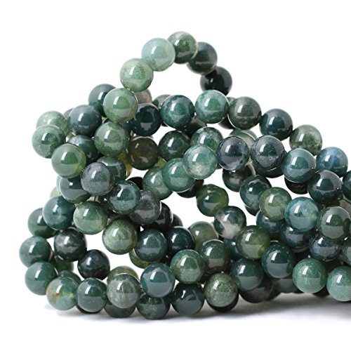 Qiwan 35PCS 10mm Moss Agate Gemstone Loose Beads Natural Round Crystal Energy Stone Healing Power for Jewelry Making 1 Strand 15