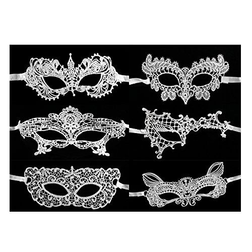 White Masquerade Mask (KissYan White Sexy Lace Masquerade Mask For Women Halloween Mask, Set Of 6)
