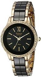 Armitron Women's 75/5312BKGPBK Swarovski Crystal Accented Gold-Tone and Black Ceramic Bracelet Watch