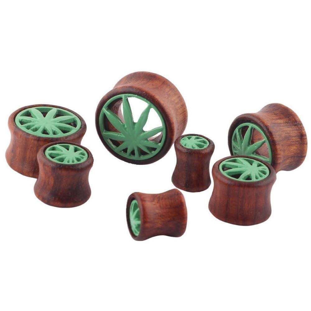 Ear Plugs Wood Hollow Maple Leaf Ear Gauges Body Piercing Jewelry 1 Pair (Brown Green, 8 mm) by Acccity (Image #4)
