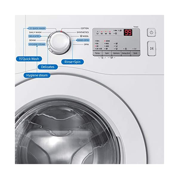 Samsung 6.0 Kg Inverter 5 Star Fully-Automatic Front Loading Washing Machine (WW60R20GLMA/TL, White, Hygiene Steam) 2021 August Fully-automatic front-loading washing machine; 6.0 kg Wash Quality and Water efficient Energy Efficient Model comes with 5 star rating Product Warranty: 3 years on product, 10 years on motor