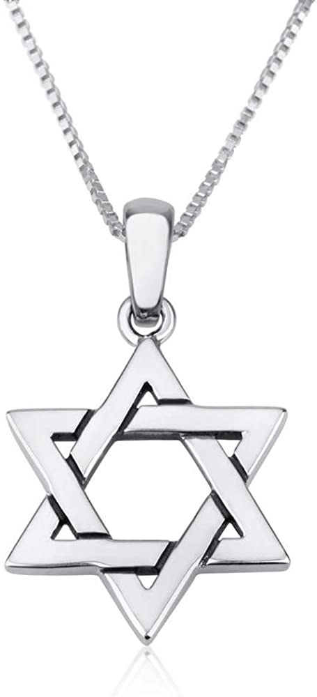 Marina Jewellery Real 925 Sterling Silver Chain Necklace with Jewish Token Pendant Charm, 18 or 24 Inch Box Chain (See Design/Chain Size Options)