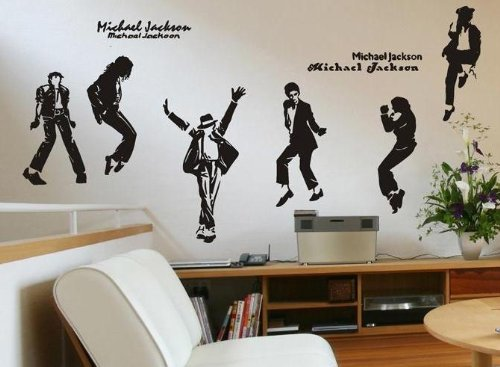 [Michael Jackson Portrait Dance Pose Silhouette Wall Art Decor Decal Mural (6 Pcs /Set) Girls and Boys Bedroom Dorm Home Decorative Vinyl Sticker Birthday Gift Collectibles -] (Michael Jackson Decorations)