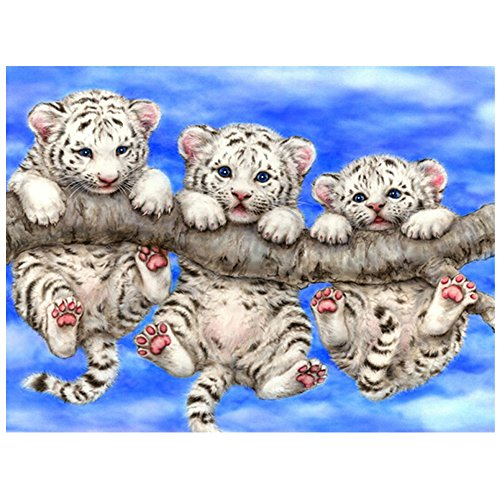 Halloween Pics To Paint (DIY Diamond Painting Three Tigers Embroidery Handicrafts Full Square Animal Series Diamond Embroidery Animal Mosaic Picture Home Decor (11.8X15.7)