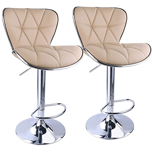 Leopard Shell Back Adjustable Swivel Bar Stools, PU Leather Padded with Back, Set of 2 (Khaki) ()