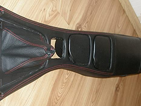 Black Leather-Red Thread RedlineGoods Center Console Cover ...