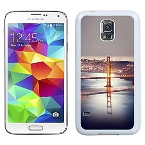 Beautiful Unique Designed Samsung Galaxy S5 I9600 G900a G900v G900p G900t G900w Phone Case With Long Bridge At Night_White Phone Case