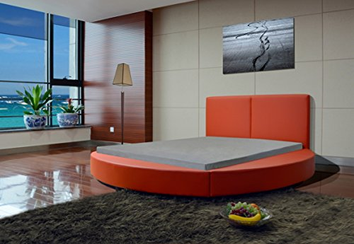 Greatime B1159 Queen Red Modern Round Bed, Queen, Red (Red)