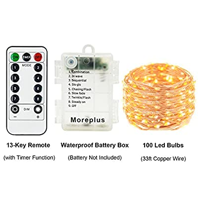Moreplus 2 Pack Battery Operated Fairy String Lights Waterproof 8 Modes 33ft 100 LED Copper Wire Decorative Lights with Remote Control for Outdoor Indoor Bedroom Garden Wedding Christmas