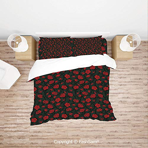 FashSam Duvet Cover 4 Pcs Comforter Cover Set Rose Swirls Ivy Plants Dark Mysterious Forest Themed Pattern for Boys Grils Kids(Single)
