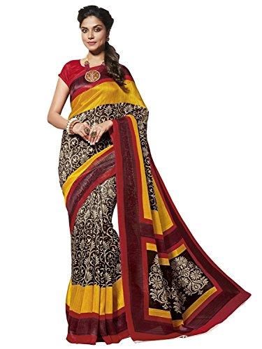 EthnicJunction Women's Cotton Silk Saree With Blouse (Multicolored,EJ1131-3025)