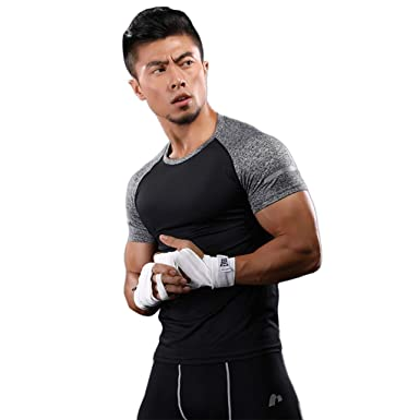5ffb9812b4781 IAMUP Men's Compression Tops Athletic Running Training Gym T-Shirts Dri fit  Base Summer Walking