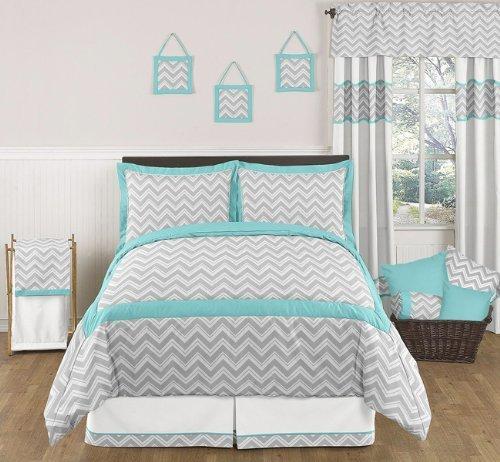 Sweet Jojo Designs 3-Piece Turquoise and Gray Zig Zag Childrens, Kids, Teen Full/Queen Girl or Boy Chevron Bedding Set