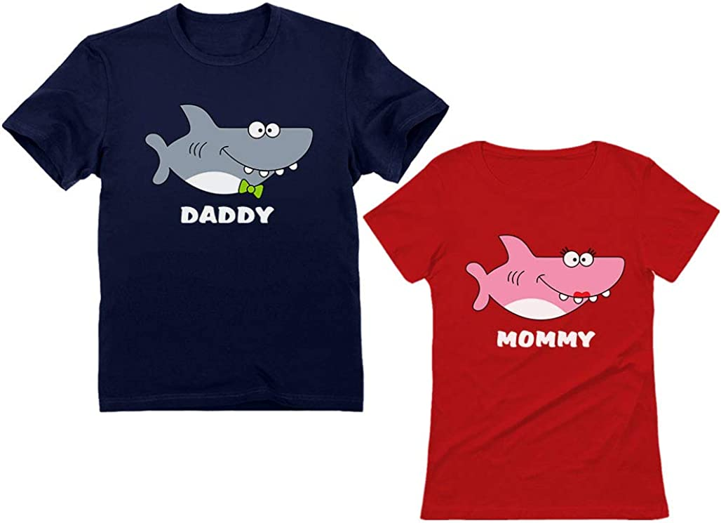 Shark Shirts for Daddy and Mommy Mom Dad Gifts Funny Family Matching Set Outfits
