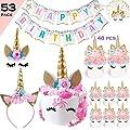 Bestus Unicorn Birthday Party Set/ Handmade Gold Unicorn Horn Cake Topper with unicorn cupcake toppers and happy birthday banner/ Unicorn Party Decoration for baby shower?wedding and birthday party