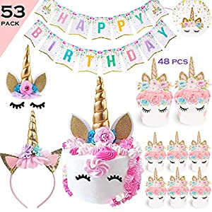 Bestus 53pcs Unicorn Cake Topper (Eyelahes,Ears and flowers set), Headband, Unicorn Cupcake Toppers and Wrappers…