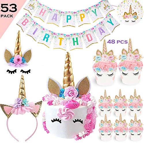 (Bestus Unicorn Birthday Party Set/ Handmade Gold Unicorn Horn Cake Topper with unicorn cupcake toppers and happy birthday banner/ Unicorn Party Decoration for baby shower,wedding and birthday party)