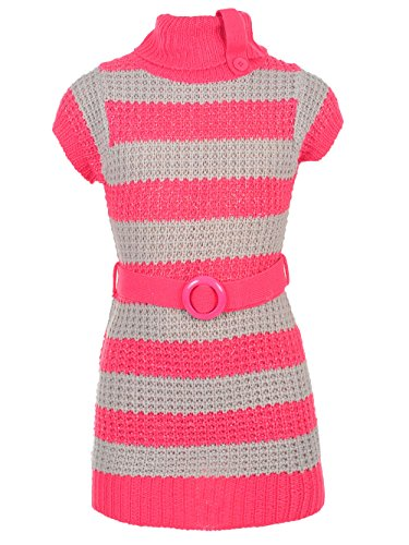 Belted Striped Sweater - Dream Star Little Girls' Belted Sweater Dress - Fuchsia, 4
