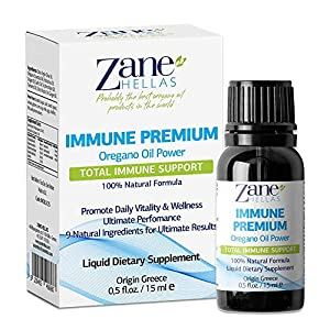 Zane Hellas Immune Premium Total Immune Support. Multiple Defense System. Wellness Support. Provides Strong Antioxidants. 100% Liquid Herbal Solution. 0.5 fl.oz. – 15ml