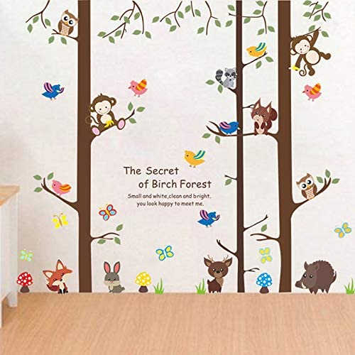 90cm Kentop Sticker Mural Autocollant Motif de Animal et Arbre Stickers Muraux D/écoration Chambre Salon Amovible 30