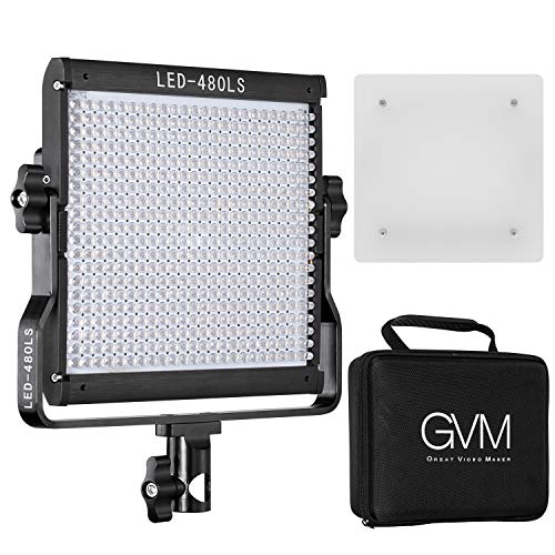 GVM Bi-Color LED Video Light Dimmable Panel Temperature Upgrade 2300K-6800K Suitable for Studio YouTube Shooting