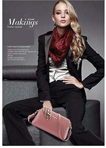 Wallet Shoulder Pu Shoulder Ouvin Handbag Strap Long Wrist And Leather Clutch With wrist Crossbody Purse Pink Women's qgxt0