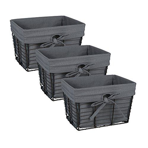 (DII Vintage Grey Wire Basket Removable Fabric Liner, Set of 3, Gray)