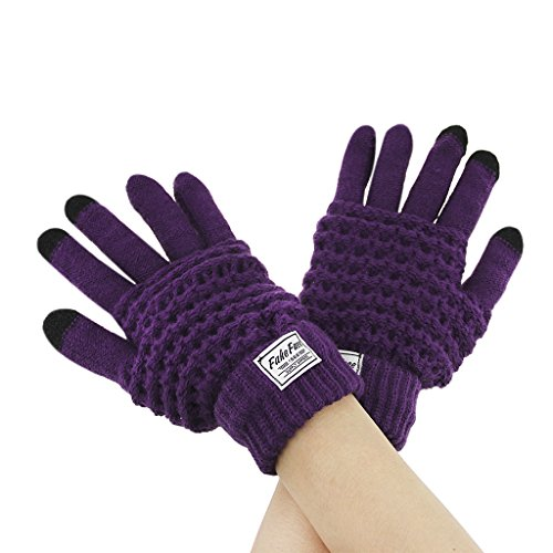 Price comparison product image Womens Mens Wool Knit Touch Screen Gloves Styluses for Electric Device Smartphone & Tablet iPhone,  iPad,  Winter Thick Thermal Weave Knitted Hand Gloves Warm Stretchy Texting Mittens with Finger Tips