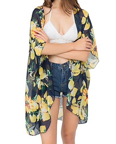(Outrip Women's Beach Cover Up Swimsuit Tops Chiffon Floral Print Kimono Cardigan (Black with Yellow Lemon))