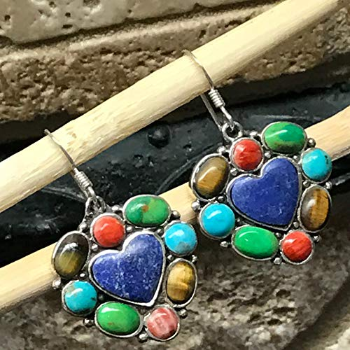 Natural Green Mohave Turquoise Lapis lazuli, Carnelian, Tiger's Eye, Rhodocrosite 925 Solid Silver Heart Earrings 30mm Carnelian Tigers Eye Earrings
