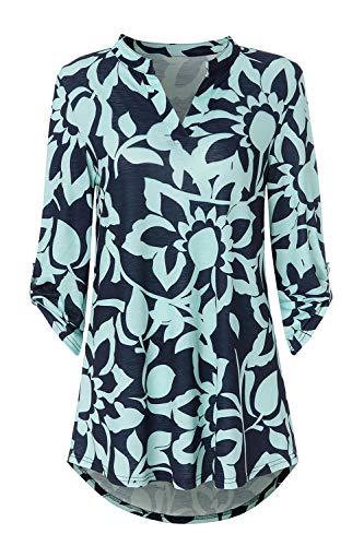 Zattcas Womens Tunic Tops 3/4 Roll Sleeve Notch Neck Casual Blouse Shirts (X-Large,Slub Fabric ()