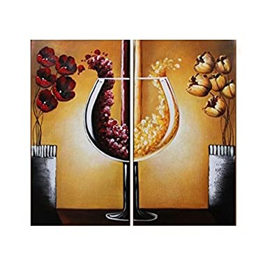Amoy Art- 2 Panels Hand Painted Modern Still Life Wine and Flowers Canvas Wall Art- Modern Oil Paintings for Wall Decor Stretched and Framed Ready to Hang (16inx32inchx2pcs)