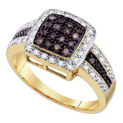 Solid 10k Yellow Gold Square Brown Diamond Cocktail Ring Halo Fashion Band Chocolate Cluster Set 1/2 ctw