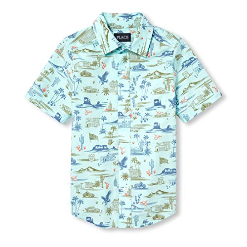 The Children's Place Boys' Big Short Sleeve Printed Oxford, sea Crystal, S (5/6) ()