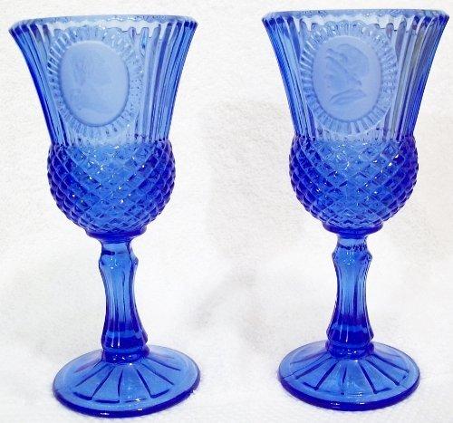 Fostoria Glass Candle Holder - Vintage AVON Fostoria Cobalt Blue Glass Goblet Candleholders George & Martha Washington COLLECTIBLE Set of 2