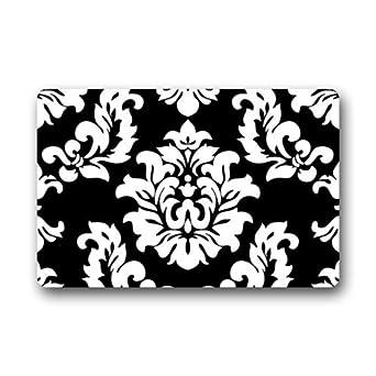 Blanco y Negro Patrón de Damasco Classic Vintage francés Floral remolinos Felpudo de puerta Mat Alfombra