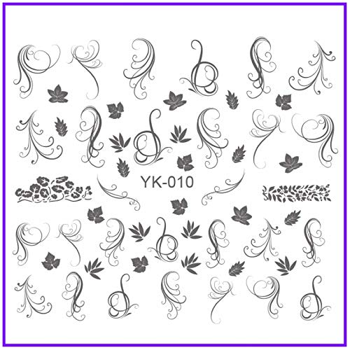 Gold/Silver Water Stickers Metallic Nail Decals Flower Rose Swirl Vine Violet Maple Leaves Grass Trumpet Flower YK007-012 YK010SILVER