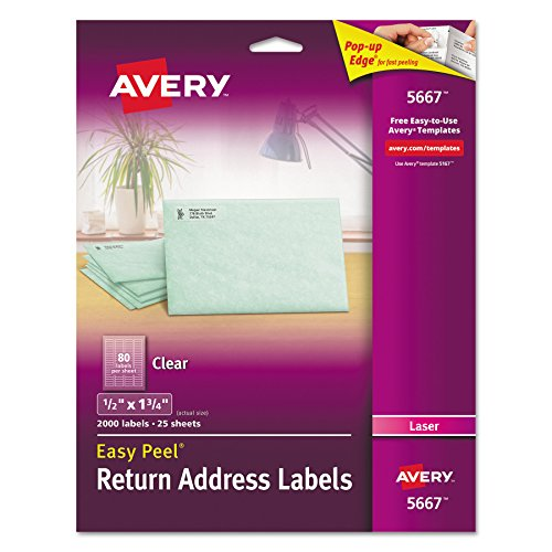 3/4 Clear Address Labels - Avery Clear Easy Peel Return Address Labels for Laser Printers 1/2