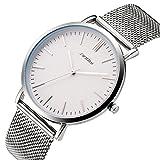 SINOBI Unisex Ultra Thin Quartz Wrist Watch Minimalist Analog Dial with Texture and Milanese Mesh Band